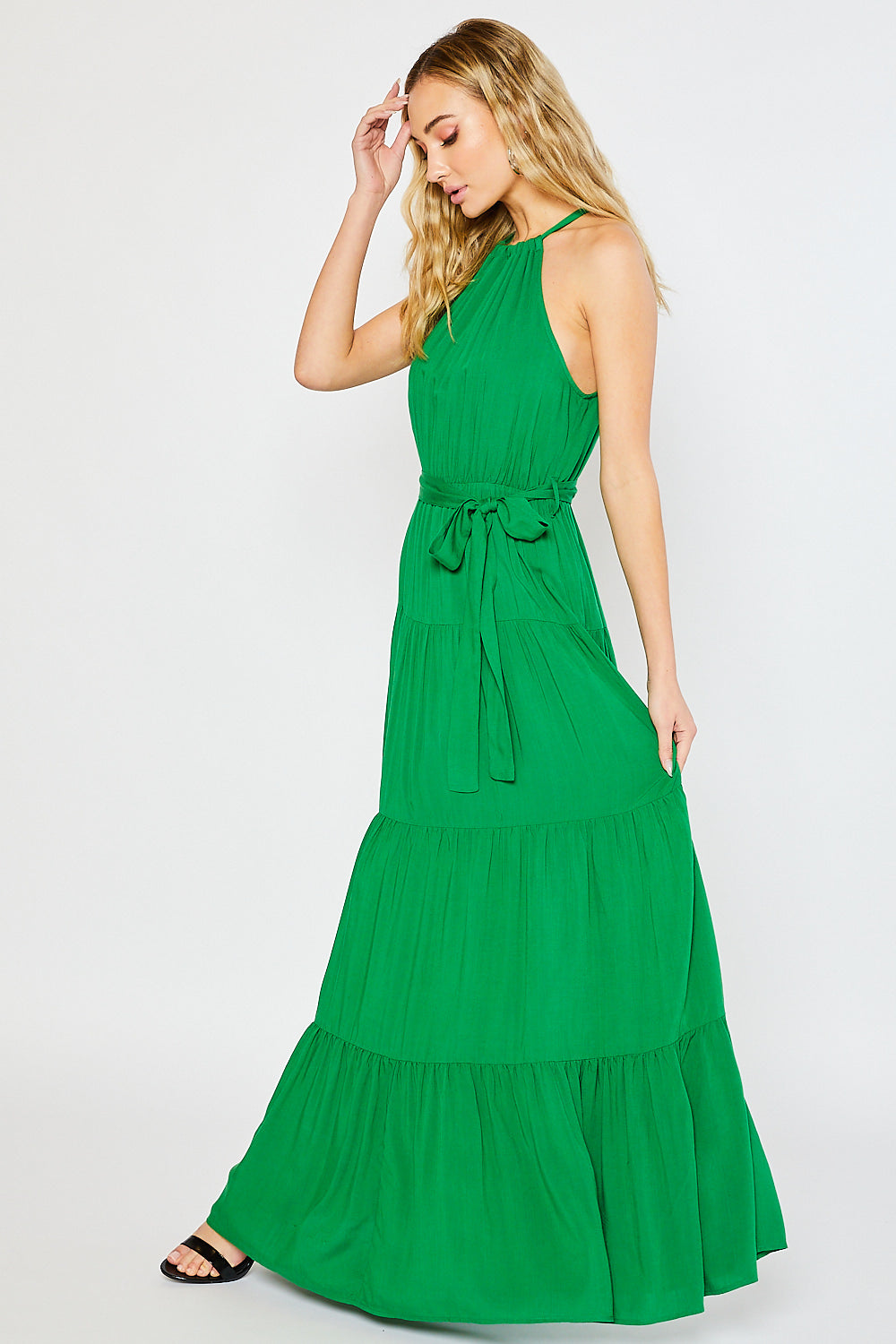 HALTER TIERED MAXI DRESS-KELLY GREEN