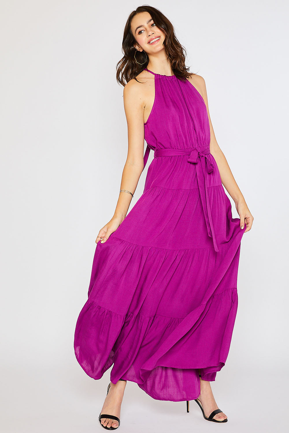 HALTER TIERED MAXI DRESS-ORCHID