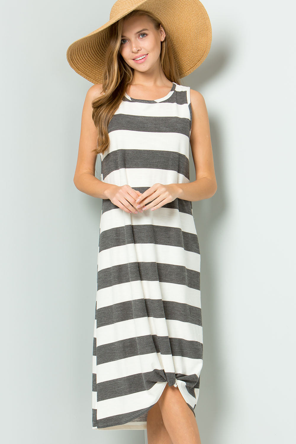 Twisted Hem Stripe Maxi Dress-BLACK
