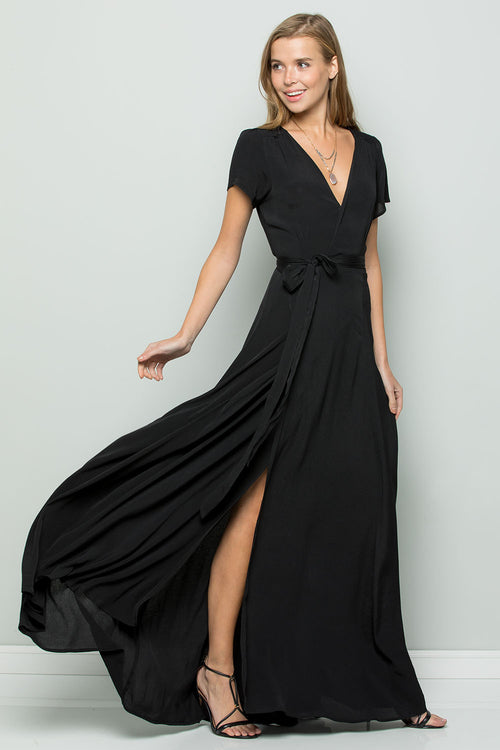Flowy Maxi Wrap Dress-BLACK