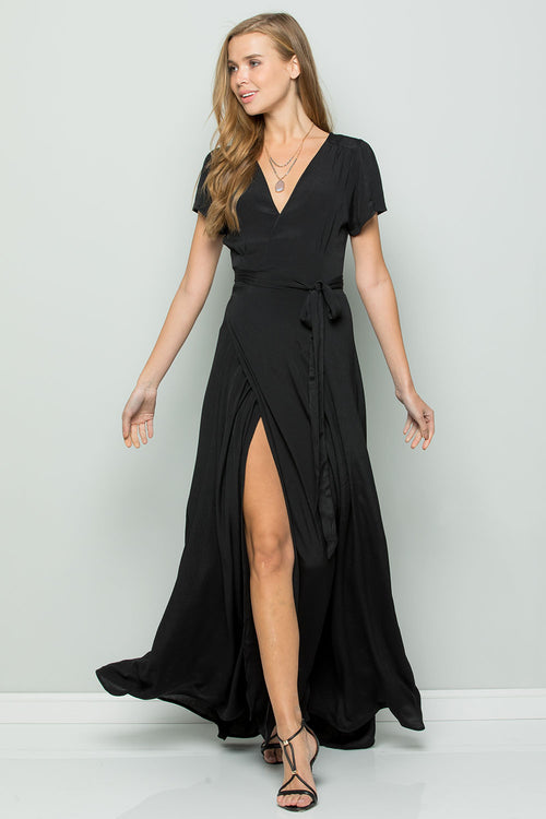 Silk Crape Flowy Maxi Wrap Dress-BLACK