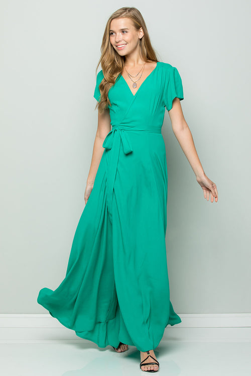 Silk Crape Flowy Maxi Wrap Dress-EMERALD