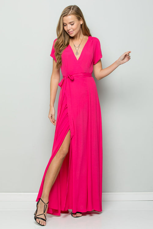 Flowy Maxi Wrap Dress-HOT PINK