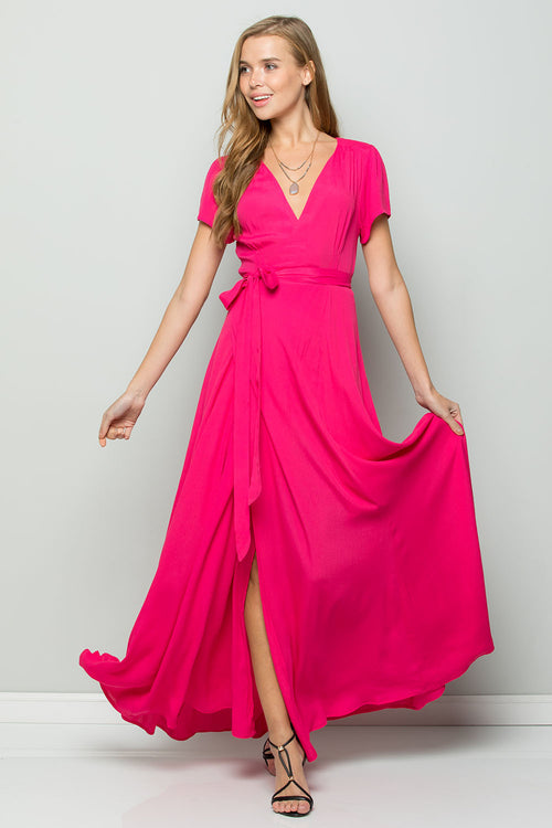 Silk Crape Flowy Maxi Wrap Dress-HOT PINK