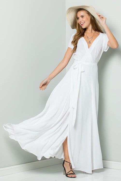 Silk Crape Flowy Maxi Wrap Dress-WHITE