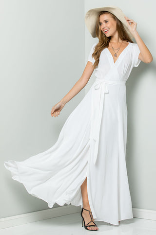 Flowy Maxi Wrap Dress-EMERALD