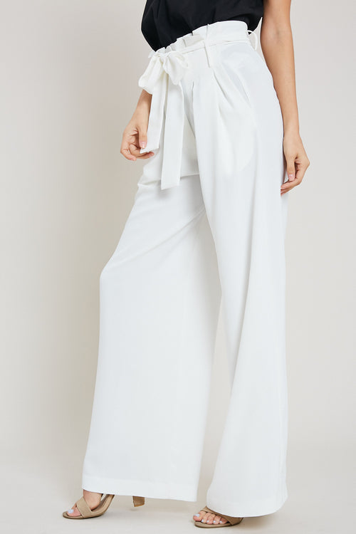 Paper Bag High Waist Wide Leg Pants-IVORY