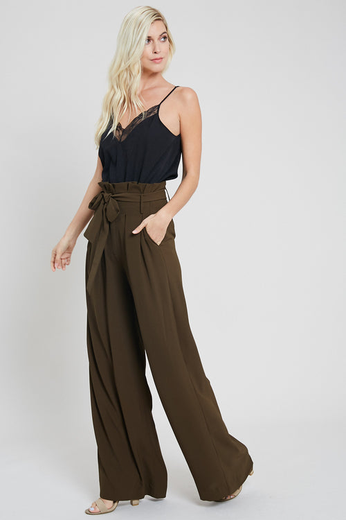 Paper Bag High Waist Wide Leg Pants-OLIVE