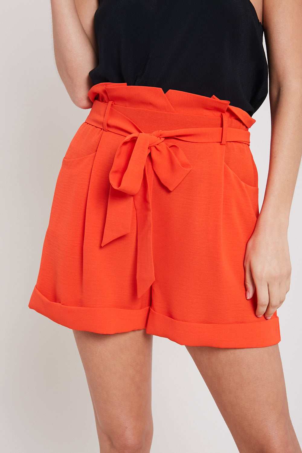 Belted Paper Bag Waist Shorts-ORANGE RED