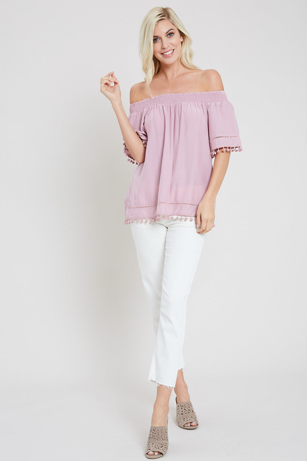 Pom Pom Trim Off The Shoulder Blouse-DUSTY PINK