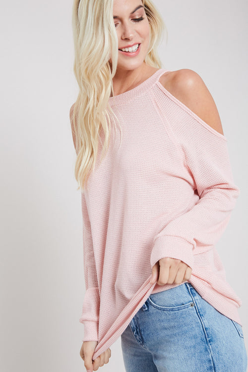 Waffle Knit Open Shoulder Top-BLUSH