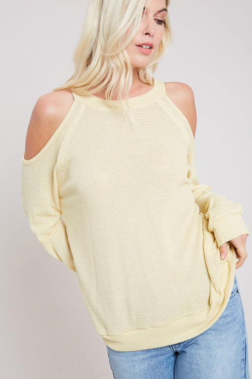 Waffle Knit Open Shoulder Top-BANANA