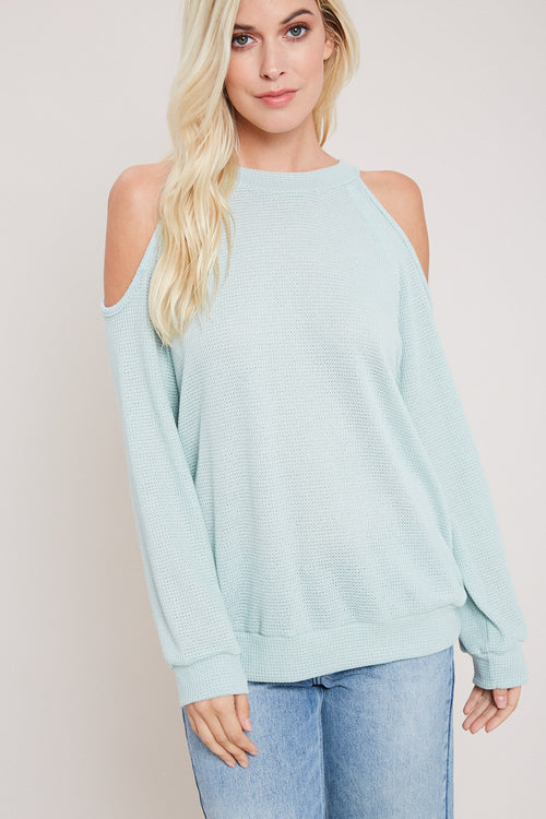 Waffle Knit Open Shoulder Top-MINT