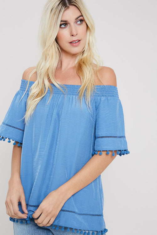 Pom Pom Trim Off The Shoulder Blouse-DENIM