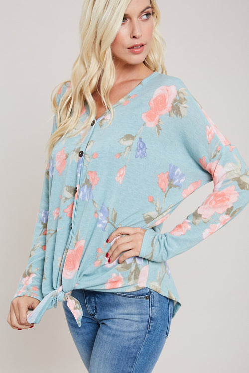 Rose Print Tie-Front Top