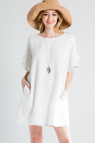 Crape Flowy Maxi Wrap Dress-WHITE