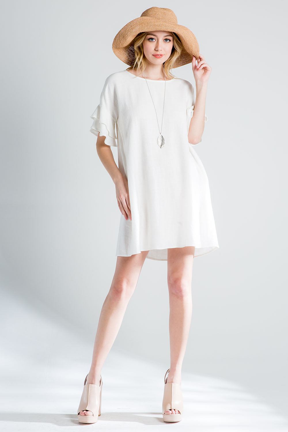 LINEN RUFFLED SLEEVE SHIFT DRESS WITH POCKET-OFF WHITE