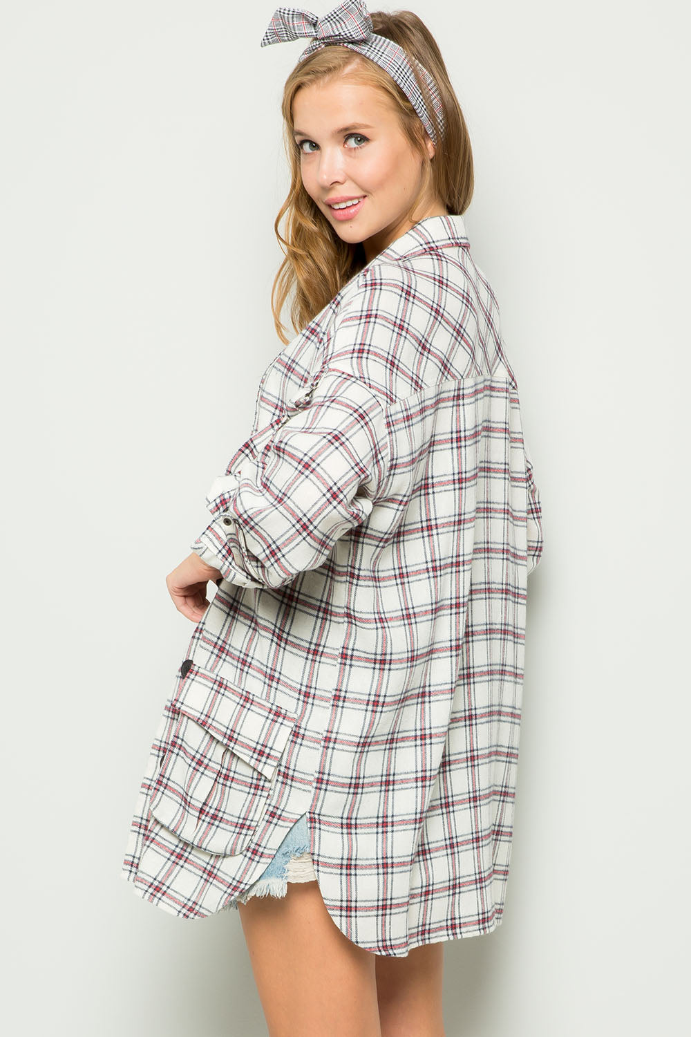 Oversized Plaid Roll-Tab Jacket-IVORY