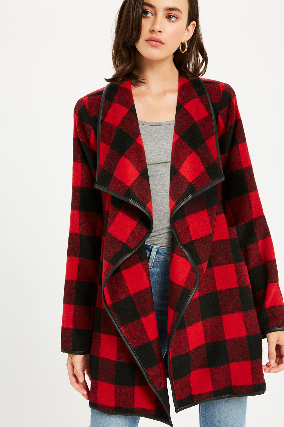 Buffalo Plaid Drape Front Jacket - Red Plaid