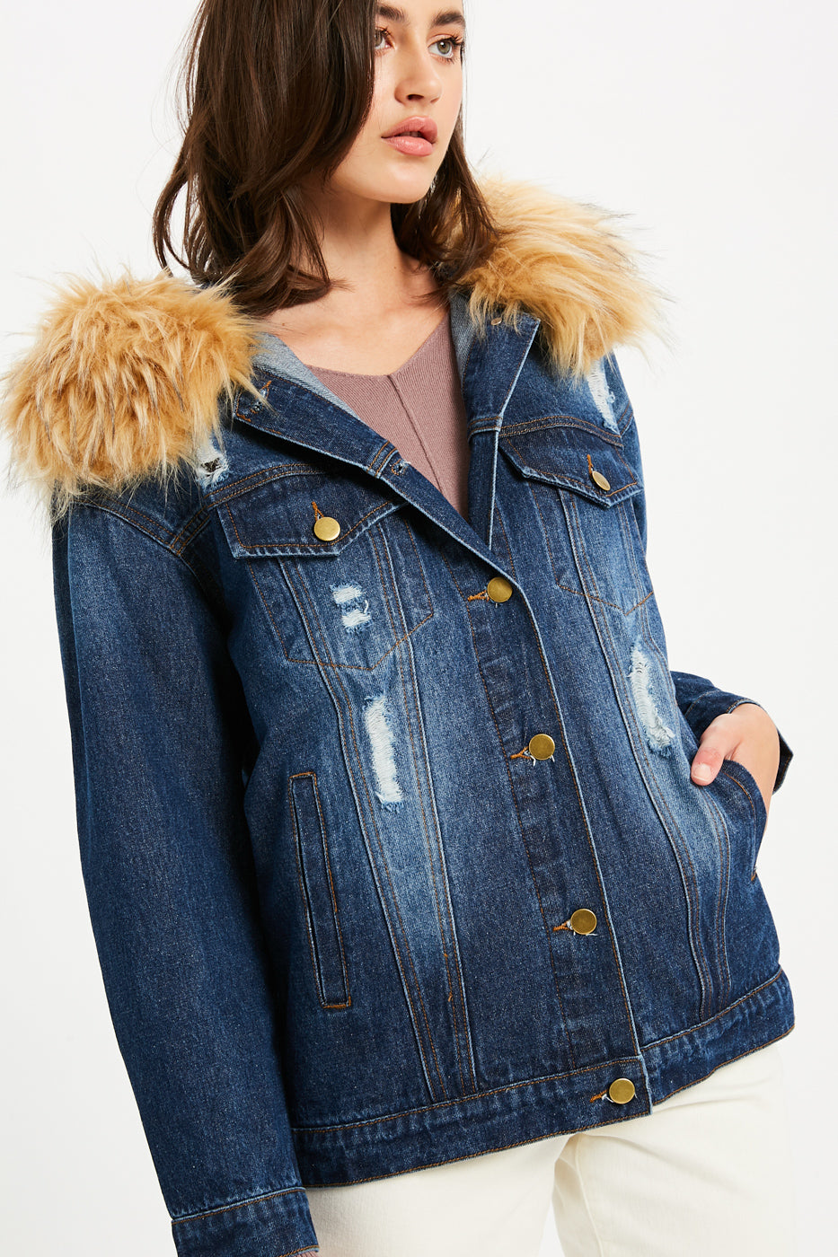 Distressed Denim Jacket with Removable Fur - Dark Denim
