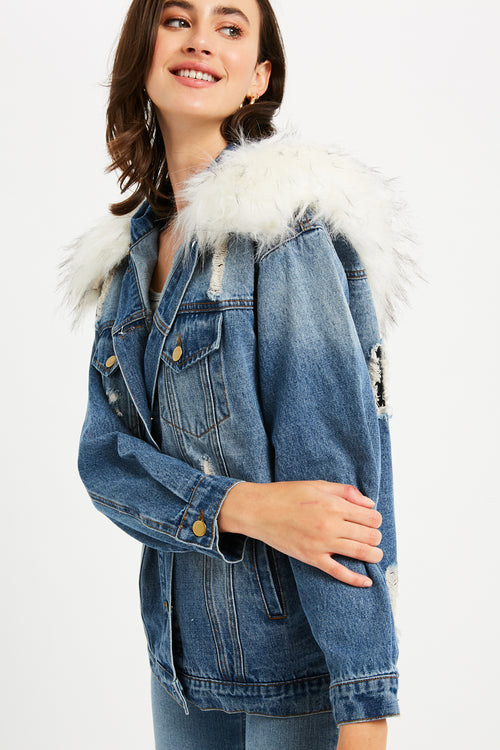 Distressed Denim Jacket with Removable Fur - Light Denim