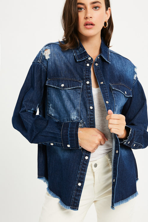 Distressed Oversized Denim Jacket - Dark Denim