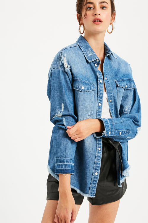 Distressed Oversized Denim Jacket - Light Denim