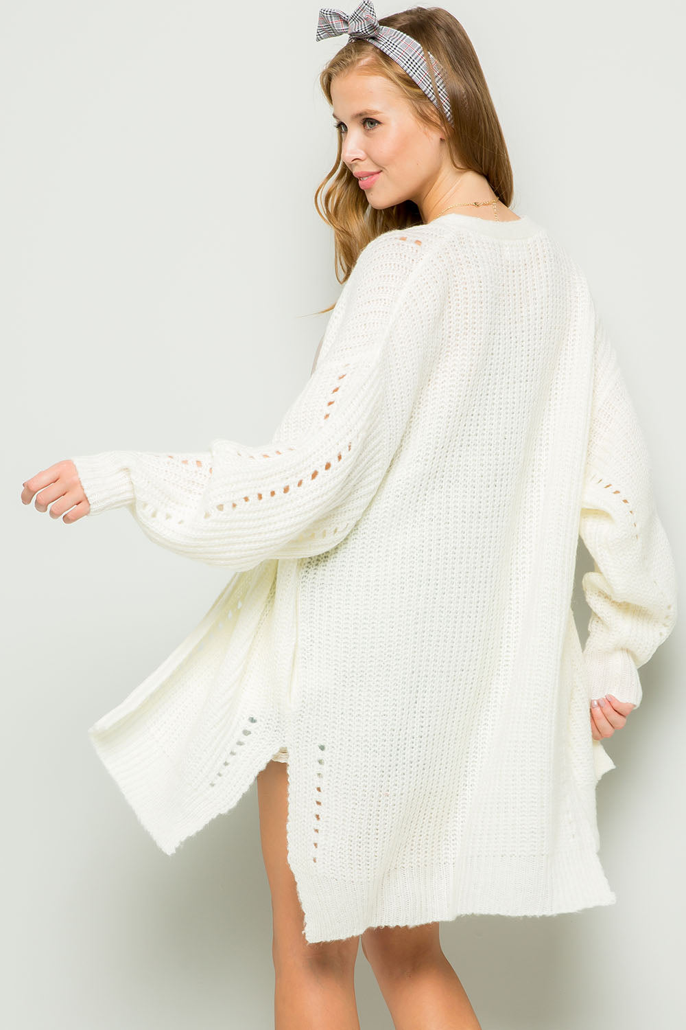 Comfy pointelle sweater cardigan-cream