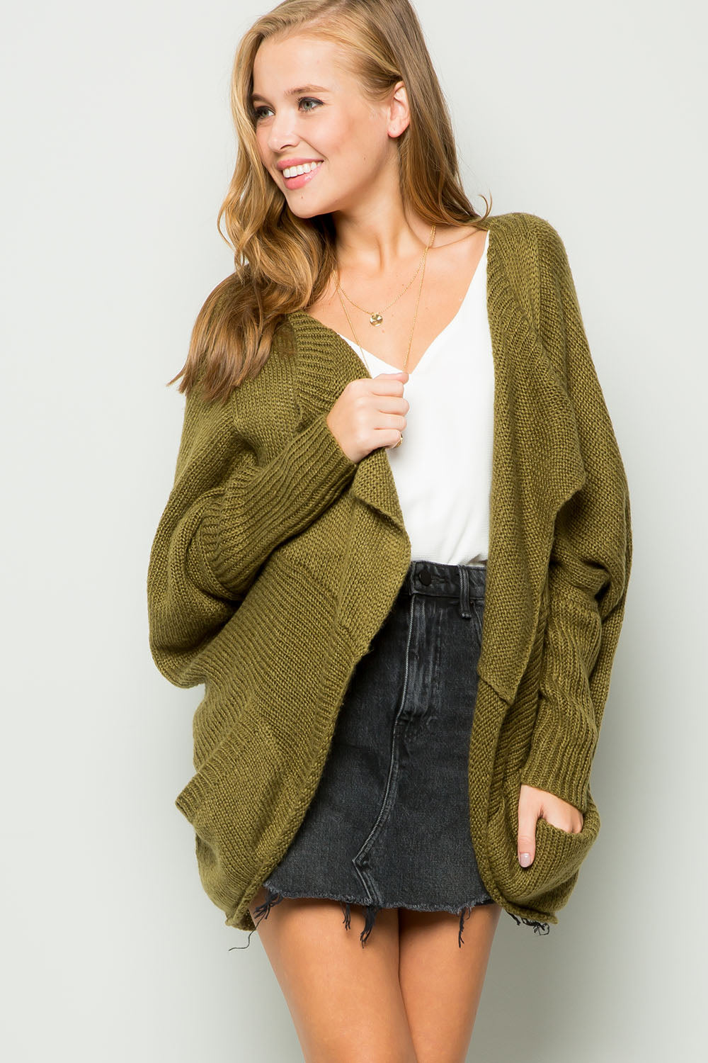 Dolman sleeve curved cocoon cardigan-olive