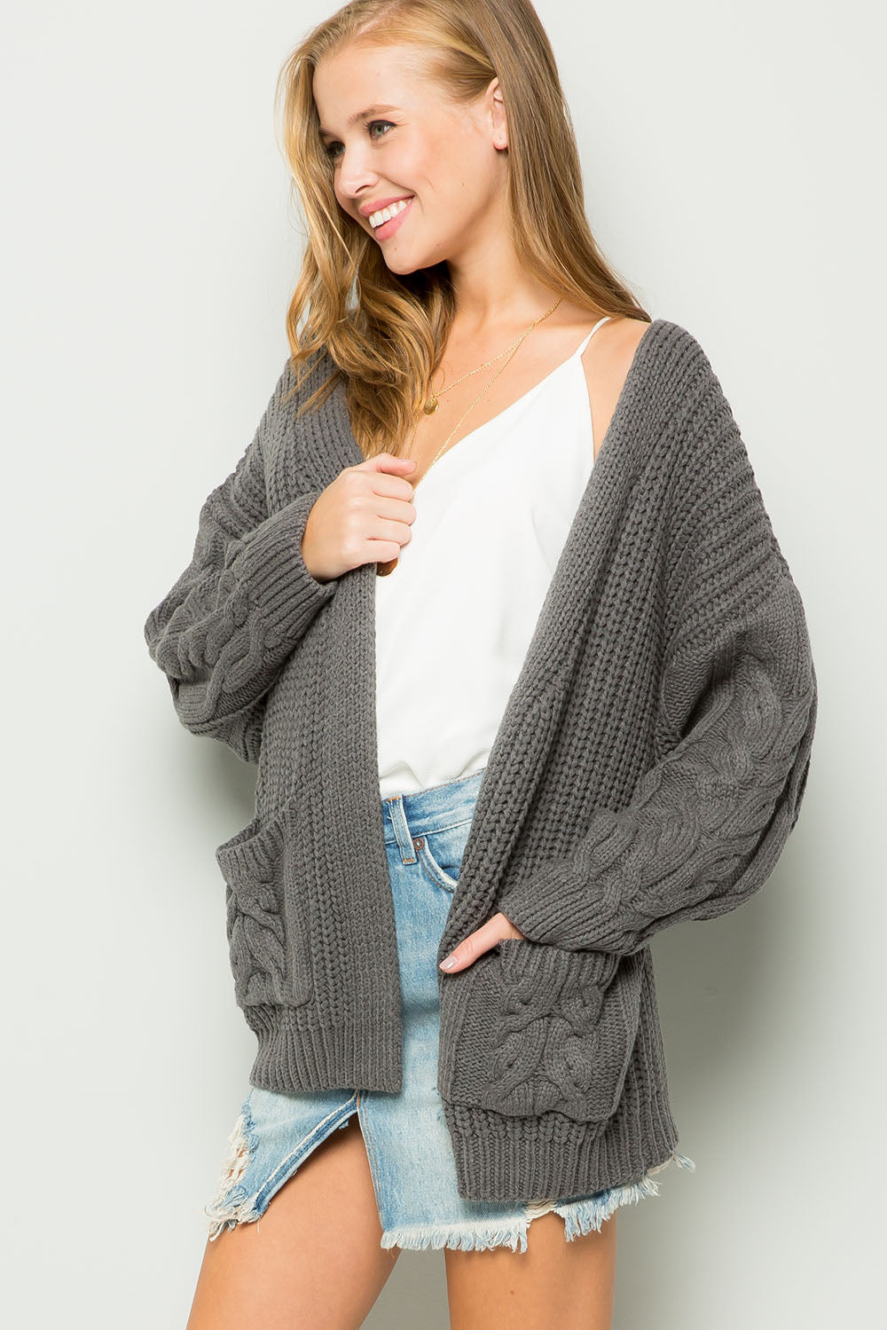 Chunky cable knit cardigan-Charcoal