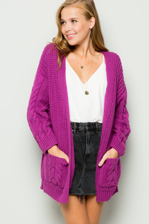 Chunky cable knit cardigan-orchid