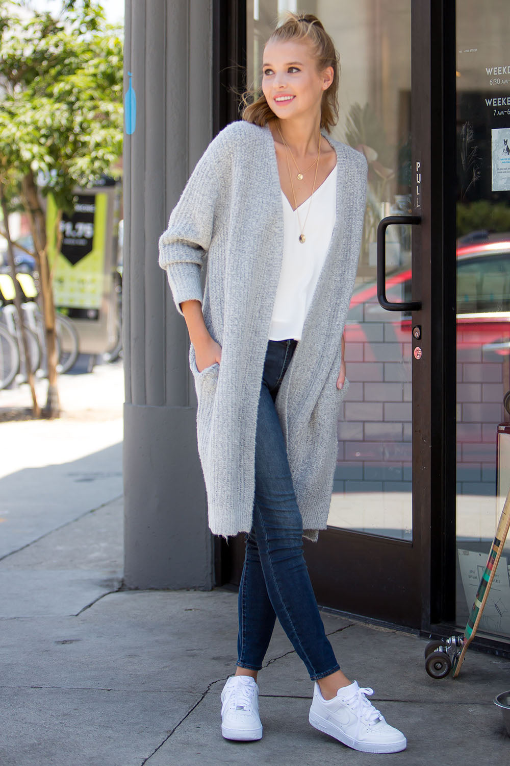 Oversized chunky mohair long cardigan-h.grey