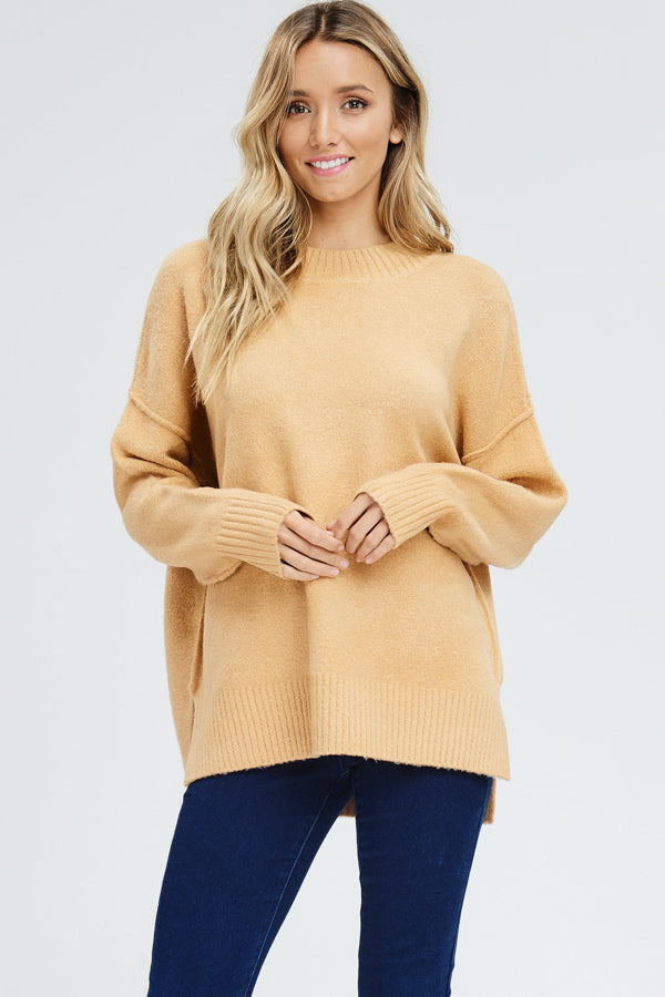 Reverse seam pullover sweater-camel