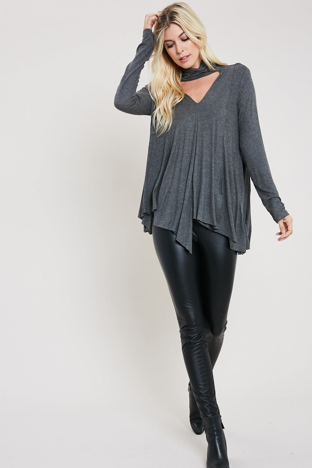 Asymmetrical Hem Cut-out Swing Top