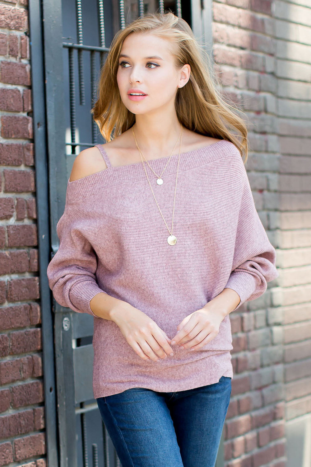 Open shoulder ribbed dolman sweater-mauve