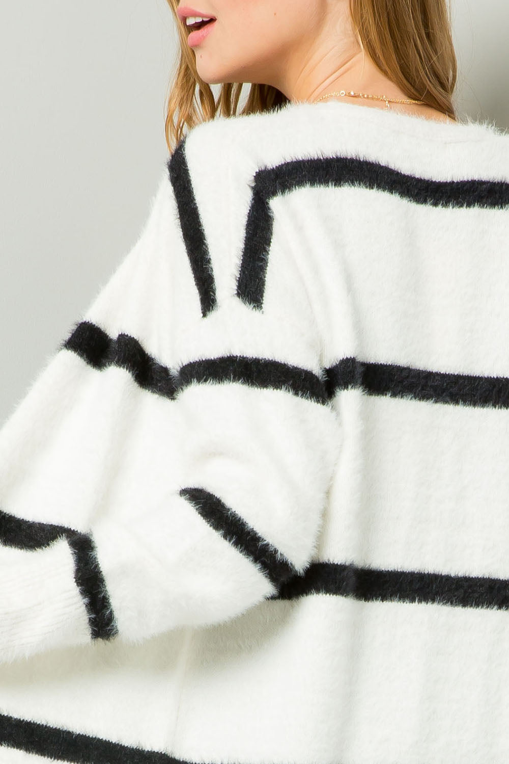 Striped Fuzzy Longline Cardigan