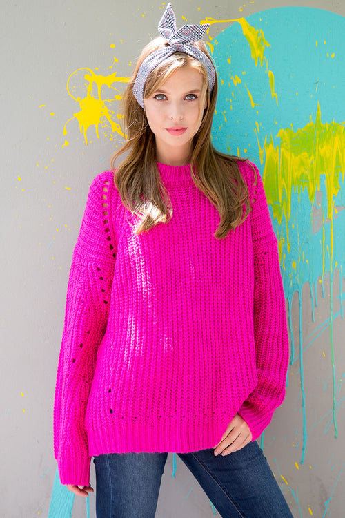 Chunky knit pointelle pullover sweater-hot pink