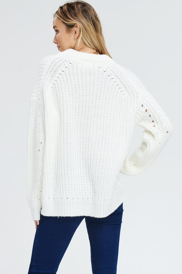 Chunky knit pointelle pullover sweater-ivory