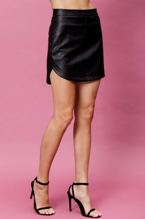 Faux Leather Hi-Low Mini Skirt
