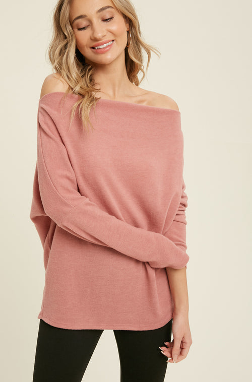 Brushed Hacci Off Shoulder Top
