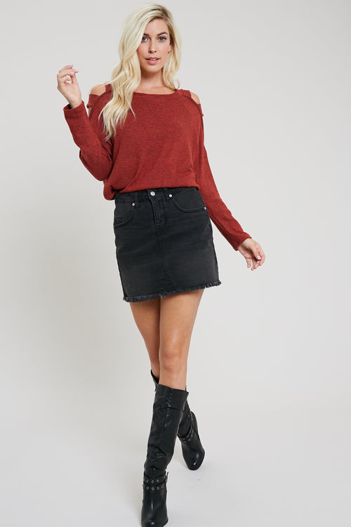 Knit ladder cutout shoulder top-BRICK