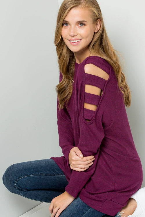 Knit ladder cutout shoulder top-PLUM