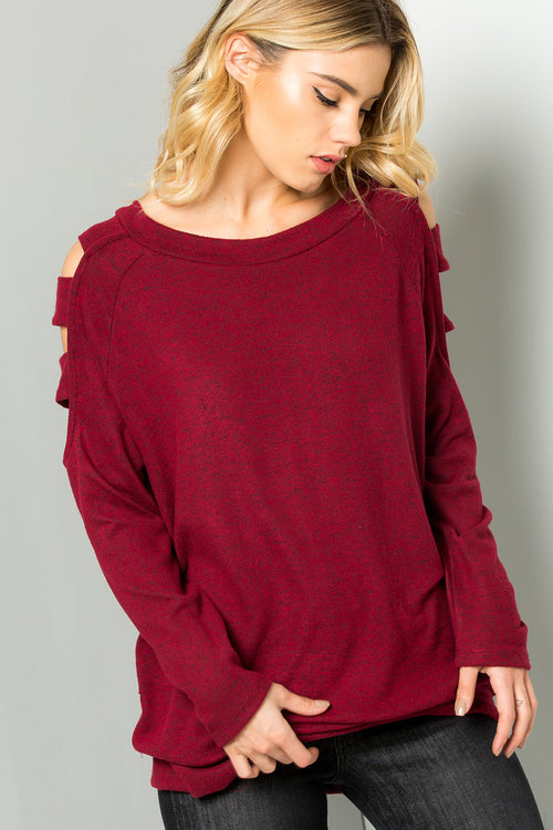 Knit ladder cutout shoulder top-RUBY