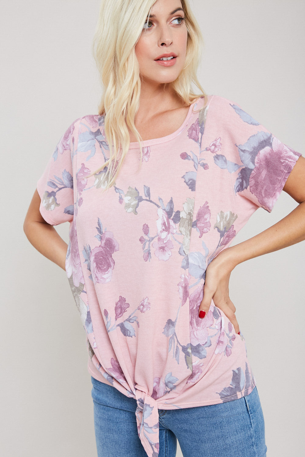 Rose Print French Terry Knotted Top-Mauve