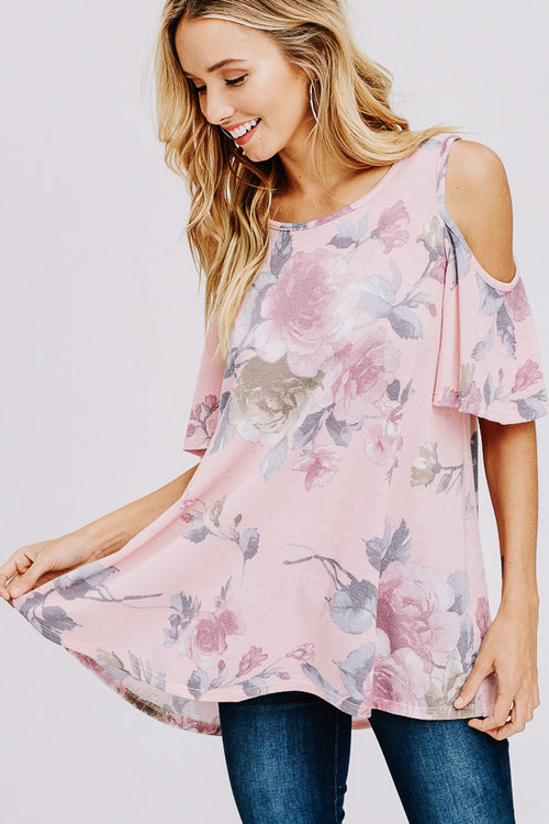 French Terry Floral Print Open Shoulder Top-MAUVE