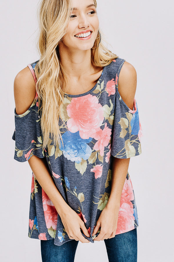 French Terry Floral Print Open Shoulder Top-NAVY