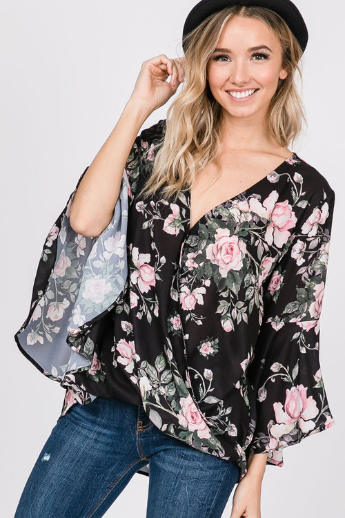 Floral Print Bell Sleeves Surplice Top