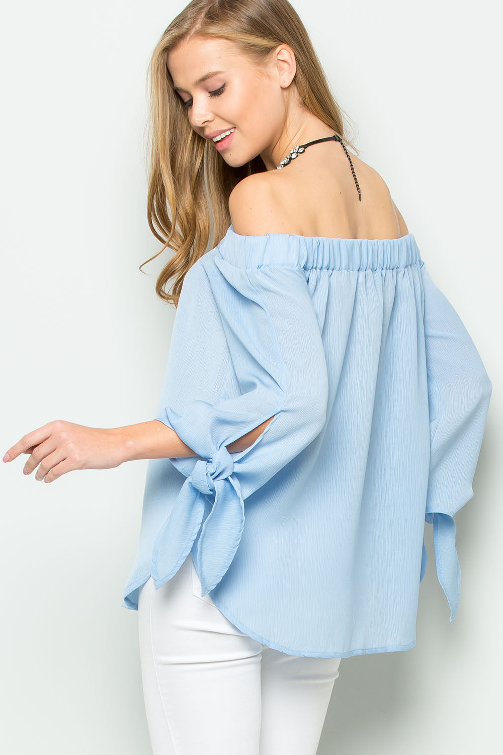 Off The Shoulder Sleeve Tie Top-Denim