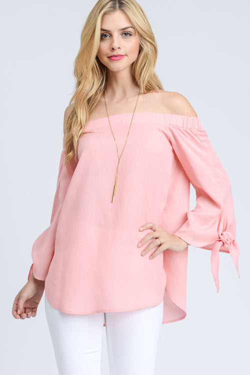 Off The Shoulder Sleeve Tie Top-Blush