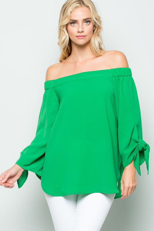 Off The Shoulder Sleeve Tie Top-Emerald